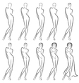Sequence of creation a beautiful female contour vector
