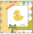 Baby shower card with little duc vector