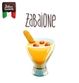 Zabaione eggnog with cookie italian food vector
