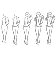 Sequence of drawing a beautiful female contour vector