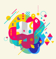 Map on abstract colorful spotted background with vector