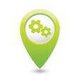 Gear icon green map pointer vector