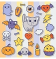 Set of halloween kawaii cute sticker doodles and vector