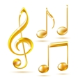 Gold icons of a treble clef and music notes vector