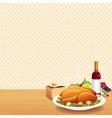 Roasted turkey on decorated table vector