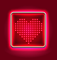 Heart glowing neon headboard vector
