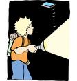 A boy with a flash light vector