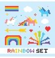 Pixel art rainbow set vector