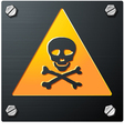 Brushed metal grunge skull sign with bolts detaile vector
