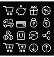 Shopping online store white icons on black vector