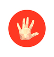 Abstract origami hand on red circle vector