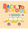 Back to school colorful title with yellow bus - vector