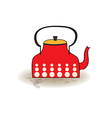 Old red kettle vector
