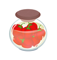 A jar of pickled red bell peppers vector