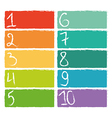 Set of ten colorful numerical rectangles vector
