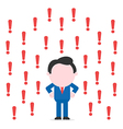 Businessman surrounded by exclamation marks vector