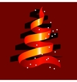 Stylized christmas tree made of red ribbon vector