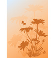 Background with silhouettes of daisies vector