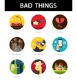Set of modern flat mens bad things icons for your vector