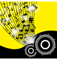 Speakers on beautiful shiny yellow abstract vector