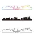 Singapore skyline linear style with rainbow vector