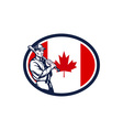 Canadian baseball batter canada flag retro vector