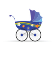 Baby carriage in blue color vector