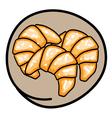 Three fresh croissants on round brown background vector