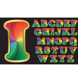 Colorful rainbow alphabet with golden frame lette vector