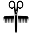 Icon with scissors and comb vector