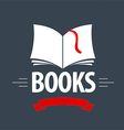Logo book with a red ribbon and bookmark vector