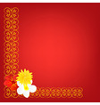 Red background with pattern and flower vector
