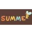 Summer cartoon text with butterfly vector