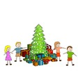 Children with christmas tree vector