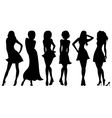 Six slim attractive women silhouettes vector