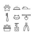 Set of pets icons cat symbols vector