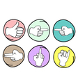 Set of different hand signs on round background vector