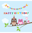 Owl family happy birthday vector