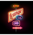 Neon sign lounge bar vector