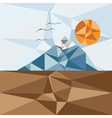 Triangle landscape with mountainbirds and sun vector