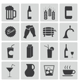 Black beer and beverage icons set vector