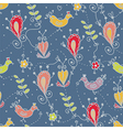 Seamless floral pattern with birds ethnic motives vector
