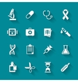 Set of white flat medical icons vector