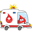 Blood cartoon character in ambulance vector