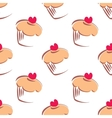 Big muffin cupcake background on white vector