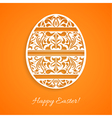 Orange background with a paper easter egg vector