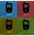 Color set mobile phone flat modern web button with vector