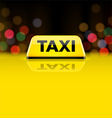 Yellow taxi car roof sign at night vector
