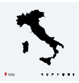 High detailed map of italy with navigation pins vector