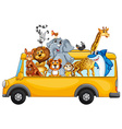 Animals and bus vector